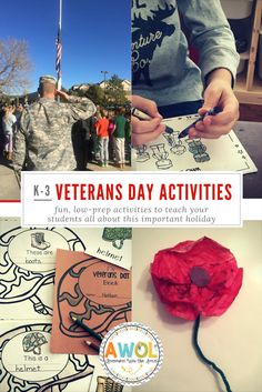 Veterans Day K-2 centers, activities, writing activities, armed forces, vocabulary and reading cards, flag facts
