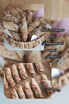 Salzstangen aus Roggenmehl und Joghurt.