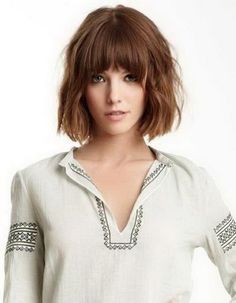 Layered bobs with bangs