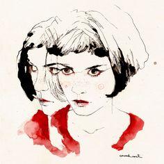 """marydsign: """" Амели / Amelie portrait by Conrad Roset """" Art And Illustration, Portrait Illustration, Amelie, Painting Inspiration, Art Inspo, Mundo Hippie, L'art Du Portrait, Art Visage, Spoke Art"""