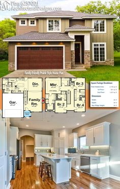 Architectural Designs Craftsman House Plan 62570DJ gives you 4 beds and over 2,100 square feet of heated living space. Ready when you are. Where do YOU want to build?