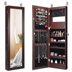 FirsTime & Co. 43 in. Rustic Arch Jewelry Armoire-81007 - The Home Depot Mirror Jewellery Cabinet, Jewelry Mirror, Hanging Jewelry, Full Body Mirror, Shelf Design, Wall Organization, Mirror With Lights, Home Decor Furniture, Bedroom Decor