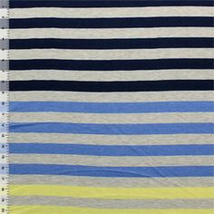 Oatmeal Navy Yellow Multi Stripe Modal Cotton Jersey Knit Fabric