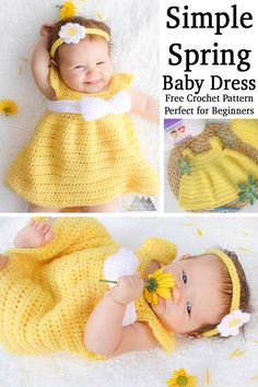 Learn to crochet this simple spring crochet baby dress with this free crochet pattern. This pattern is quick and easy and designed for beginner crocheters. #crochetforbeginners #babycrochet