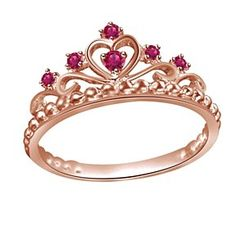 Red Rubies Engagement Wedding Band Crown Ring In 14K Rose Gold # Free Stud Earrings by JewelryHub on Opensky