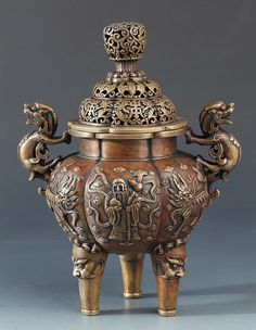 Very Rare Bronze Relief  Incense Burner / Qing Dynasty  http://www.artfact.com/auction-lot/a-very-rare-bronze-relief-longevity-aromatherap-86-c-327ffc7594