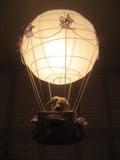 hot-air ballon with passenger - chandelier for kids room - mongolfiera lampadario