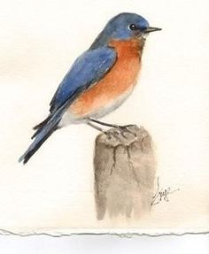 Watercolor Lesson – Learn How to Paint a Bluebird - http://makingartfun.com/htm/f-maf-printit/watercolor-little-engine-that-could.htm