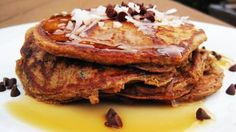 Almond Joy Pancakes Recipe | Quick and healthy Trader Joe's recipes  --  A yummy and healthy Whole Wheat Yogurt Pancake, your going to love it! It's not to sweet, but sweet enough without it being considered a dessert!