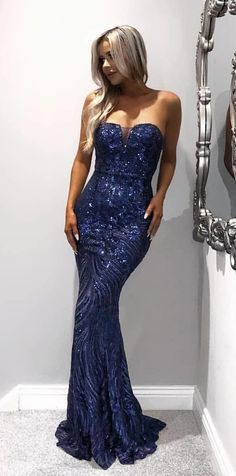 modest dark blue mermaid prom dresses, unique sweetheart sequined party dresses, gorgeous strapless evening gowns