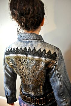 Hand upcycled ombre denim jacket with antique by StubbornJeans