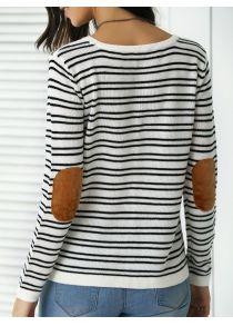 Trendy Patchwork Design Striped Sweater