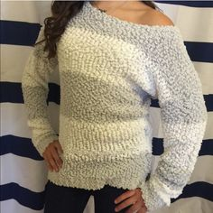"""New Almost Famous M white gray stripe Soft sweater New with tags-soft & knitted-20"""" (arm pit to arm pit-25"""" (length shoulder down to bottom of hem) Almost Famous Sweaters Crew & Scoop Necks"""