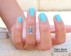 Tiny Turquoise Knuckle Ring  Sterling Silver Ring  by TinyBox12, $12.95