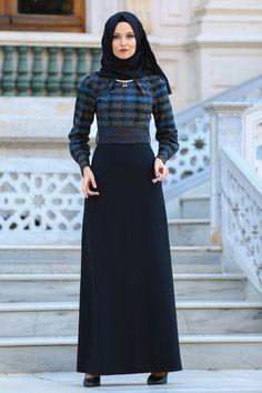 2018/2019 Yeni Sezon Günlük Elbise Koleksiyonu - Neva Style - Üzeri Desenli Gri Tesettür Elbise 2119GR