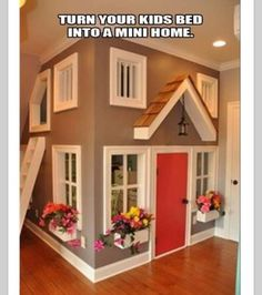 Indoor playhouse in basement. (for the kids' playroom in the loft! Arizona hot summers and scorpions suck for outdoor play structures. Dream Rooms, Dream Bedroom, Girls Bedroom, Kid Bedrooms, Baby Bedroom, Bedroom Rugs, Bedroom Decor, Kids Bedroom Furniture, Baby Girl Rooms