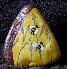 Hand Painted Rock Zebra Finch,Birdhouse,Bee's (02/14/2011)