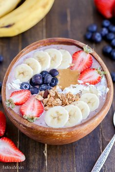 This Peanut Butter Acai Bowl is the perfect creamy healthy and peanut buttery breakfast! The recipe makes one thick smoothie bowl best topped with fresh fruit granola and peanut butter. Smoothie Bowl, Smoothie Recipes, Superfood, Healthy Breakfast Recipes, Healthy Recipes, Açai Bowl, Peanut Butter Smoothie, Breakfast Bowls, Breakfast Fruit
