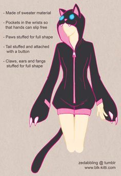 New Images Sewing clothes design Concepts CUTE! ♥ Clothing Design - Cutesy Kigurumi by ~blk-kitti on deviantART - cute paws Diy Clothing, Sewing Clothes, Sewing Scarves, Cosplay Diy, Cosplay Costumes, Sewing Hacks, Sewing Projects, Sewing Stuffed Animals, Diy Couture