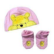 Disney Winnie the Pooh Baby Girl's Cap/Bootie Set 2pc Winnie the Pooh Pink