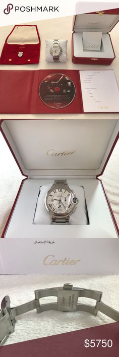 Cartier Ballon Bleu Chronograph 44mm Silver Steel Beautifully maintained Cartier watch. Comes with box, book, cd, extra links and servicing records from Cartier with matching serial numbers. Gently used, very minor surface blemishes can easily be polished out by jeweler. Need to sell fast so I didn't have time to get this done at Cartier. Typically a man's watch due to the 44mm size but I have seen ladies wear this watch as well. This watch sells on all watch sites online for $7000-8000 so…