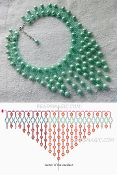 Free pattern for necklace Fresh Mint 11/0-6-8-10 mm golyó