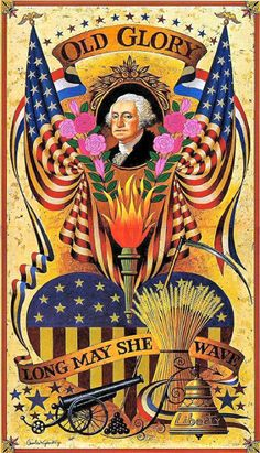 Old Glory vintage patriotic postcard with George Washington and pink roses
