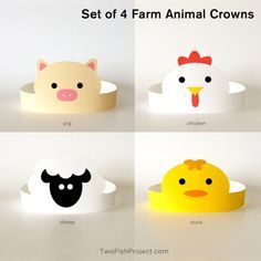Set of 4 DIY Printable Farm Animal Paper Crowns: chicken, pig, sheep and duck. Perfect for kids parties, birthdays, baby showers, costumes. This listing is for instant download digital files. No physical item will be shipped. Buy it once, print as many as you like! SUPPLIES YOULL NEED TO MAKE YOUR CROWN: • Cardstock (8.5 x 11/Letter Size) • Craft Knife or Scissors • Tape WHAT YOULL GET: - Comes with two sets of printable files, one set in PDF format and one set in JPG format (You will...