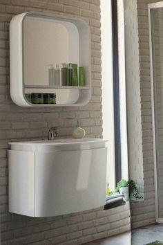 Lavabo su mobile DEA 60 cm con miscelatore Mélange, specchio con mensola Dea 60 cm