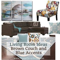 Brown Sectional And Light Blue Accents Make Your Living Room Cozy