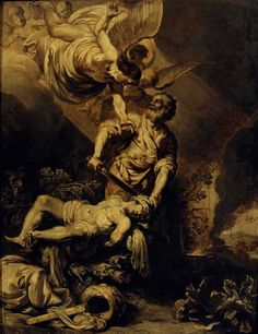 Object of the week #50 | Pieter Lastman, The sacrifice of Abraham, c. 1612 | Here we see a scene from the Old Testament of the Bible: the sacrifice of Abraham. To test Abraham, the Lord commanded him to sacrifice his son Isaac. At the last moment, an angel stayed his hand. The scene is painted in shades of grey. This type of painting is known as a 'grisaille'.