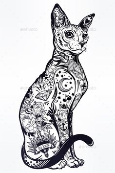 Buy Vintage Style Cat with Body Flash Art Tattoos. Vintage style beautiful gothic cat with body decorated in traditional flash art tattoos. Character tattoo design for .