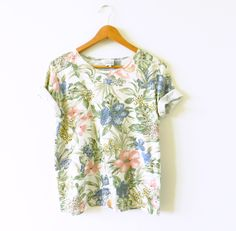Tropical Vintage Animal Print Tee / 80s Vintage Floral Blouse / Tropical Resort Slouchy Tee by thehappyforest on Etsy