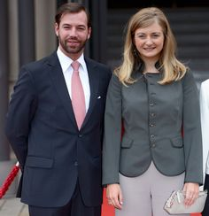 Prince Guillaume, Hereditary Grand Duke of Luxembourg and his wife, Princess Stephanie, Hereditary Grand Duchess of Luxembourg visit the state chancellery on 31 Aug 2013 in Wiesbaden, Germany.