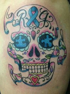 Sweet Skull Tattoo Representing Autism...LOVE IT