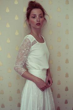 Elise Hameau Lace Sleeve Wedding Dress - Read more on One Fab Day: http://onefabday.com/elise-hameau-wedding-dresses/