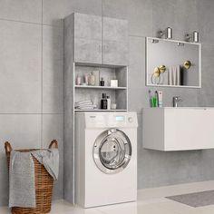 ZNTS Washing Machine Cabinet Concrete Grey 64x25.5x190 cm Chipboard 800031
