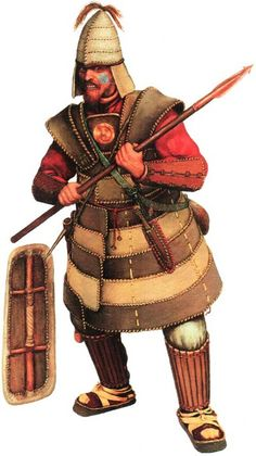 Heavily armed warrior, Tagar culture, 5th-4th centuries BC, leather armour, South Siberia