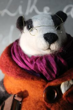 Needle Felted Badger https://www.facebook.com/pages/OkieFolky-Fiber-Arts/296465917180885  ||| doll, dollhouse, play, plush, stuffed animal
