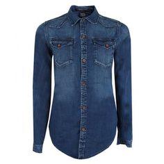 Maison Scotch Womens Blue Fitted Denim Western Shirt