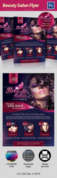 Trifold Beauty Salon Corporate brochure, Brochures and Salons - hair salon flyer template