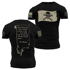Enlisted Nine - Jolly Roger – Grunt Style Grunt Style Shirts, Cool Shirts, Tee Shirts, Pirate Shirts, Tactical Clothing, Tactical Gear, Sporty Style, Personalized T Shirts, Mens Tees
