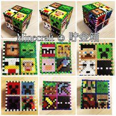 3D Minecraft money box perler beads by kwaco00san