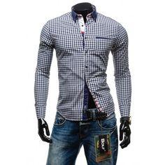 Pánska kockovaná košeľa s dlhým rukávom modrej farby - fashionday.eu Shirt Dress, Blazer, Mens Tops, Jackets, Shirts, Dresses, Fashion, Down Jackets, Vestidos