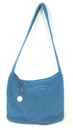 THE SAK Original Blue Woven Handbag Purse Shoulder Hobo Bag Medium M #TheSak #Hobo
