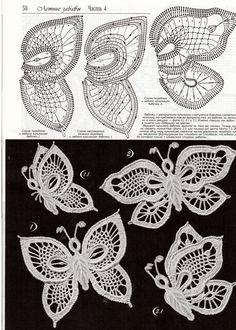 Photo from album Дуплет 7 on irish crochet motifs- wedding dress Crochet Butterfly Pattern, Irish Crochet Patterns, Crochet Motifs, Crochet Diagram, Freeform Crochet, Crochet Chart, Thread Crochet, Crochet Designs, Crochet Flowers