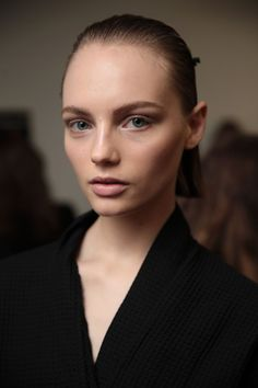 "Executive realness was the name of the game at [b]Alexander Wang[/b], where [i]Vogue[/i] contributing beauty editor Guido Palau slicked back models' hair and [link url=""http://www.vogue.co.uk/gallery/alexander-wang-autumn-winter-2018-beauty""]accessorised with an Eighties-style clip[/link] to complement the clean lines in the collection. Similarly sophisticated beauty was on show at Dion Lee and Toga, whilst the slickest side partings reigned at 3.1 Phillip Lim and Rochas."