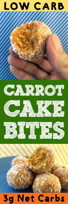 These low carb carrot cake bites are the bomb Theyre tasty treats that pack all the flavor of carrot cake into a bite sized morsel And each 14 cup serving has just net. Low Carb Carrot Cake, Carrot Cake Bars, Carrot Recipes, Keto Recipes, Healthy Recipes, Trim Healthy Mama Diet, Homemade Desserts, Keto Desserts, Carrots N Cake