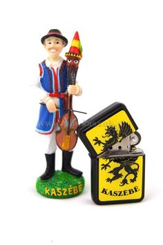 Kashubian souvenirs. Kaszuba figurine of devilish violin and lighter Kashubian. FOR sale on www.phukaszub.pl