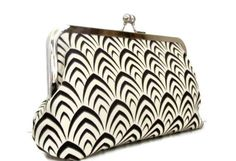 Bridesmaid clutch purse  black and ivory fishtail by cutiegirlie, $35.00